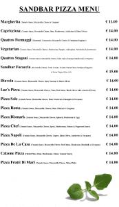Sandbar Clontarf Pizza Menu