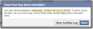 Confirmation of details for your scheduled post