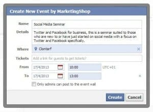 Facebook Events - Step 3